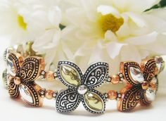 Multi Color Floral Cuff Bracelet by MyGemstoneDesigns on Etsy, $55.00
