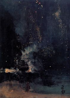 eaknn:  nuuro:  Nocturne in Black and Gold: The Falling Rocket, James Whistler  this is the definition of perfection.