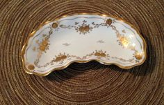 VINTAGE Porcelain White With Gold Roses & Trim Dish by cappelloscreations, $15.00 @Etsy