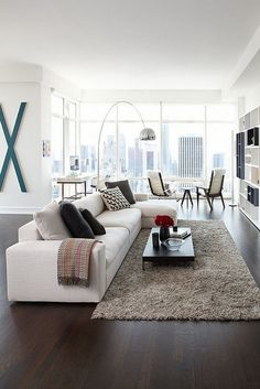 24 Interior Designs with Arco floor lamp Interiorforlife.com Bloomberg Tower Apartment by Tara Benet Design