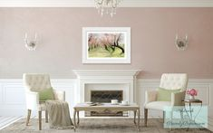 Blush Pink Living Room with Framed Cherry Blossoms Art Print from an Original…