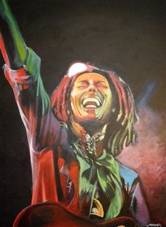 Bob Marley - Get Up Stand Up! Acrylic portrait by Kim Overholt.