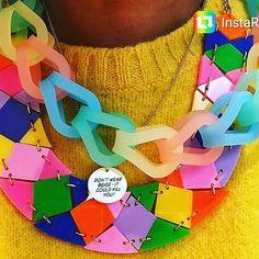 Three @tattydevine necklaces including the little pendant with my quote about the dangers of beige. #tattydevine  #dontwearbeigeitmightkillyou  #suekreitzmanworld  #suetattycollab #plasticjewelry by suekreitzman - Pinned by @FancyAsMilly on instagram -