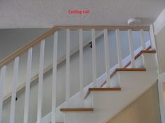 Carpentry, Cabinetry and Interior Woodworking - Need help with a stair railing - Hello everyone, I'm nearly done with finishing my basement and adding a bathroom down there, and before I have the Stairs Balusters, Diy Stair Railing, Interior Stair Railing, Railing Ideas, Banisters, Finishing Stairs, Banister Remodel, Low Ceiling Basement, Open Stairs
