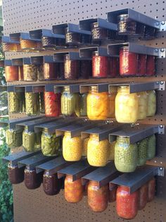 Mom's Mason Jar Hanger---for both wide and regular mouth. Vertical canning storage on pegboard.