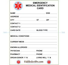 Free printable medical id cards medical id wallet size for Medical alert wallet card template