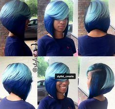 Channelling Smurfette With This Blue Bob @stylist_cmarie - http://community.blackhairinformation.com/hairstyle-gallery/weaves-extensions/channelling-smurfette-blue-bob-stylist_cmarie/