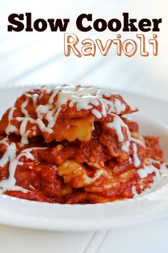 Crockpot Slow Cooker Ravioli. This recipe is easy! No prep work. And it's good you'll want seconds.