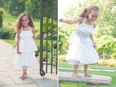 Flower Girl White Ruffled Dress with lace and beautiful shiny sash. Arm free. on Etsy, $48.00