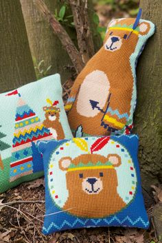 Vervaco, cross stitch, embroidery, bear, tipi, indian, colourful, woods, forrest,