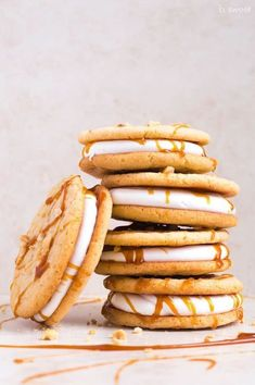 Marshmallow Sandwich Cookies with Peanut Butter and Salted Caramel