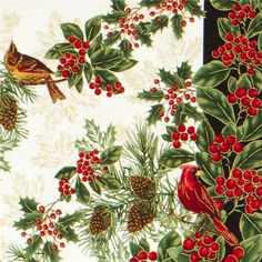 red Timeless Treasures Christmas fabric poinsettia