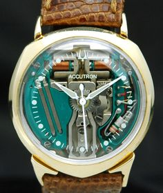 1960s SOLID 14K GOLD BULOVA SPACEVIEW ACCUTRON Alpha WATCH 214 Space Age VTG M1