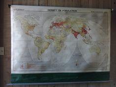 Vintage World Map Rand McNally Pull Down by used2bnewVintage #vogueteam #etsygiftguide #vintagemaps