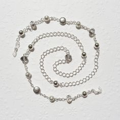 Eyeglass Chain  Silver and Crystal Silver Eyeglass Chain by JanJat, $26.00