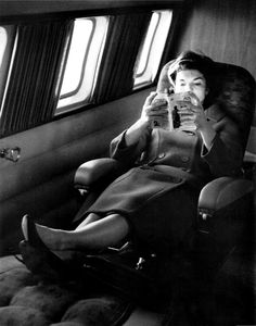 mrs-kennedy-and-me: First Lady Jackie Kennedy, relaxes on her private plane while reading Jack Kerouac. People Reading, Woman Reading, I Love Books, Good Books, Books To Read, Reading Books, How To Read People, Good People, Celebrities Reading