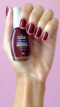 #Conhaque #Colorama #Bordô #nails #polish #manicure #unhas #esmalte