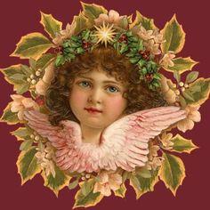 Vintage Angel w Wreath bkgrd by SabraKhan, via Flickr