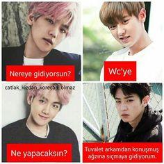cringe of kpop Bts Vs Exo, Funny Share, Funny Times, Exo Memes, Girly Pictures, Chanbaek, Bts Boys, Really Funny, Cringe