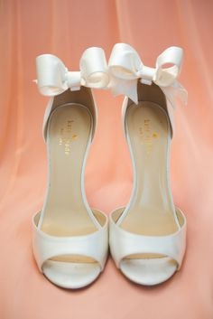 Wedding shoes with a bow by Kate Spade ~ Michele Conde Photography