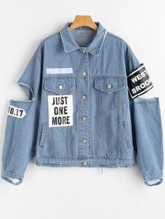 Patch Letter Shirt Full Wide-waisted Fashion Jackets Letter Patched Cut Out Ripped Denim Jacket Distressed Jean Jacket, Blue Jean Jacket, Mode Kawaii, Denim Jacket Patches, Ripped Denim, Patched Denim, Denim Jeans, Kawaii Clothes, Denim Fashion