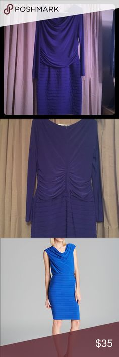 Adrianna Papell Blouson bandage dress In new condition . Blue pic is just like it but this one has long sleeves and is gorgeous eggplant . Adrianna Papell Dresses Midi