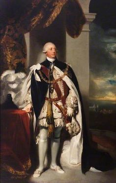 King George III (1738–1820) of England. The scene is set at Windsor Castle looking across to St George's Chapel. The king (the one who went mad and necessitated the Regency) is dressed in the formal robes of the Master of the Order of the Garter. The painting was completed in 1792 and hung in St Mary's Guildhall. It was intended to inspire support for the king at a time of revolution in neighboring France.