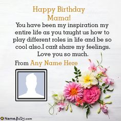 You will find here happy birthday mama wishes, cakes, cards, and images with name. Islamic Birthday Wishes, Happy Birthday Wishes For A Friend, Happy Birthday Wishes Images, Happy Birthday Wishes Quotes, Best Birthday Wishes, Happy Birthday Pictures, Happy Wishes, Birthday Msgs, Birthday Book