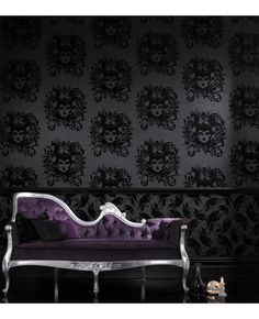 Disney Villians flocked Maleificent wallpaper by Barbara Hulanicki - not for your wedding, I just wanted you to see it. @Toni Sanchez
