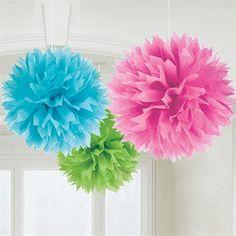 Baby Pompones de papel, ideales para la decoración de fiestas de cumpleaños, baby showers, primavera, comuniones o bodas. Miden aprox. 40cm de diámetro.