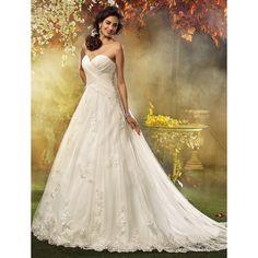 A-line Princess Sweetheart Court Train Appliques Tulle Wedding Dress