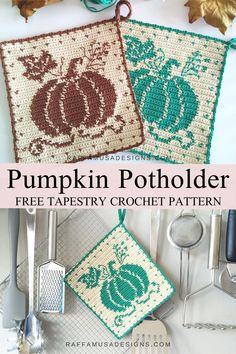 The Tapestry Crochet Pumpkin Potholder of the Farmhouse Collection is beautiful and functional, just perfect for your kitchen fall decor. This hot pad will look great in your home! #trivet #autumn #washcloth #dishcloth #easy #crochet Crochet Potholder Patterns, Tapestry Crochet Patterns, Crochet Dishcloths, Crochet Squares, Knit Crochet, Easy Crochet, Tunisian Crochet, Crochet Doilies, Free Crochet