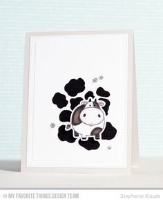 Cute Cow Card by Stephanie Klauck featuring the Birdie Brown The Whole Herd stamp set and Die-namics and the Cow Print stencil #mftstamps