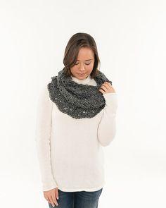 Charcoal Heather Light Lacy Crochet Cowl by BrennaAnnHandmade