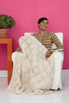 Free Knitting Pattern: Winter Lace Afghan from Lion Brand.  Skill Level Easy+