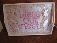 Vintage China Mosaic Wood Tray Bless Our Nest by thooker on Etsy, $60.00