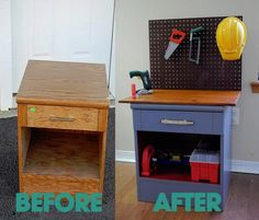 boys tool bench - side table upgrade- If Krish cant have a Kitchen maybe he can have a tool bench!