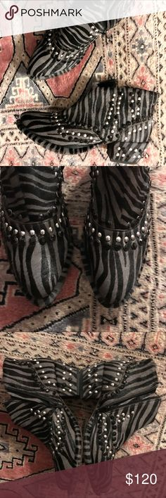 FP • chasing cowboys studded ankle boots Zebra printed calf hair ankle boots.  With killer studs.  Size 38 fits 7.5-8 or a true 8.  EUC.  Just some normal scuffs on the soles.  Get 'em before I change my mind! Free People Shoes Ankle Boots & Booties