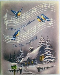 #269 40s Unused Bluebirds in Song-Vintage Christmas Greeting Card