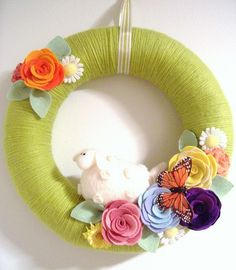 Felted Flower Wreath