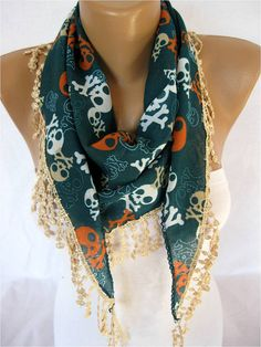 ONE SALE  Skull Pattern scarf women scarves  guipure by MebaDesign, $9.90 @Kristy Pitchford