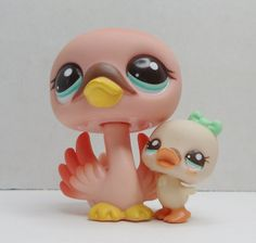 littlest pet shop madre y bebé cisne suelto * littlest pet shop mutter und baby schwan lose