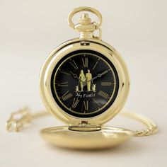Gold scottish terriers walking with there family pocket watch - black gifts unique cool diy customize personalize