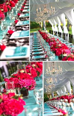 fuschia and turquoise decor. ahh my two favorite colors, I just died a little inside :) Hot Pink Weddings, Aqua Wedding, Tiffany Blue Weddings, Wedding Table, Wedding Bells, Wedding Flowers, Wedding Reception, Wedding Centerpieces, Wedding Decorations