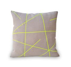 PALEOLOCHIC Natural Linen Cushion Cover With Neon Yellow Stripes