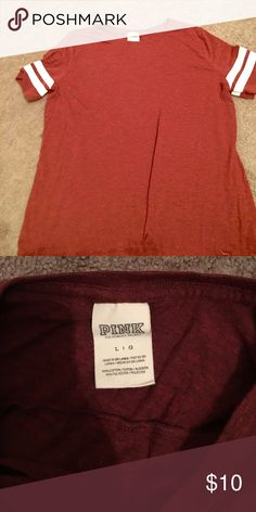 Victoria Secret PINK tee shirt Gently used Victoria Secret PINK tee shirt in a rusty red color PINK Victoria's Secret Tops Tees - Short Sleeve
