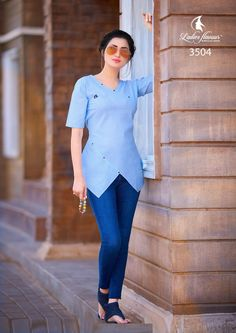 Ladies Flavour Manufacture 2019 beautyfull Collage Girl Short western tops buy at catalog fashion mart in Surat. Ladies F… College Girls, College Wear, Mode Outfits, Skirt Outfits, Ladies Western Tops, Fashion Catalogue, Tunic Shirt, Short Tops, Western Wear