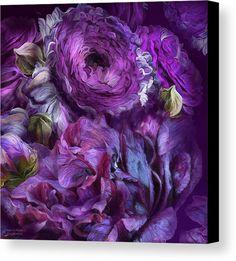 Peonies In Purples 2 canvas print featuring the art of Carol Cavalaris.