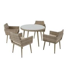 Bungalow Rose Pantano 5 Piece Dining Set with Cushions Outdoor Dining Set, Patio Dining, Outdoor Furniture Sets, 3 Piece Bistro Set, 3 Piece Dining Set, Dining Room Server, Wicker Dining Chairs, Solid Wood Table Tops, Patio Bar Set