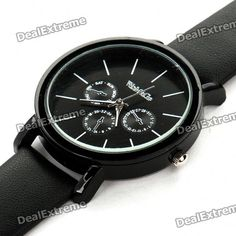 Material: PU Leather + Stainless Steel - Water resistant - Wristband length: 23.6cm - Built-in 1 x 377 button battery http://j.mp/1ljKbSI